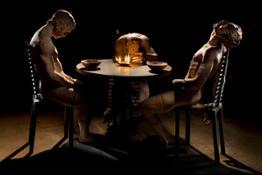Cena in Emmaus_travertino persiano,bronzo e ferro_cm.250x250x160