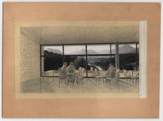 Michelangelo Perghem Gelmi Concorso albergo Terme di Comano Vista dal soggiorno dell'albergo verso la valle del Sarca, 1958-1960