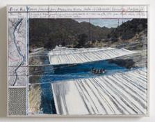 CHR-61 Christo over the river 21.5 x 28 cm collage, pen, enamel, photograph, wax pastel, fabric and map 2006