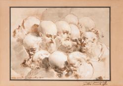 05 -Mauro-Gandolfi-Studi-di-teste-penna-acquerello-a bistro-biacca