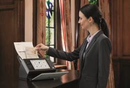 Hotel Reception Scanner on desk
