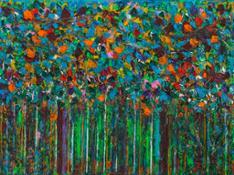 Giancarlo Limoni, Dentro il paesaggio Giardino ad Agra, 2000, olio su tela cm 197 x 280