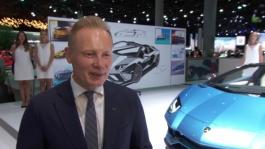 Mitja Borkert, Head of Centro Stile, presents the design of the new Aventador Roadster by the tape drawing (English)
