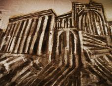 F. Pisani, Palmira, teatro romano, ossidi e lacche su tela, 2017