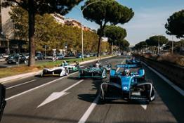The Formula E cars making their way around the streets of the Italian capital ahead of the inaugural CBMM Niobium Rome E-Prix on April 14