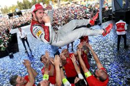 Daniel Abt clenches his fists in celebration on the podium after securing his first Formula E victory in Mexico City
