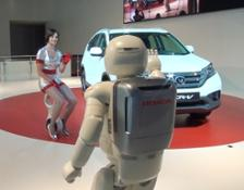 17646 ASIMO and the personal mobility device, the U3-X on stage together in Europe for the first time