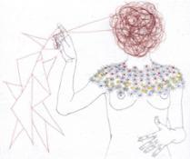 T.Ferioli-Presentimento-2013-matite e capelli su carta giapponese intelata-10x12cm
