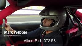 Mark Webber and the GT2 RS on the Albert Park Grand Prix Circuit