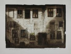 Zec Casa Bianca acquatinta con tempera etc cm 100 x 135