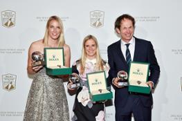 Rolex WSOY winners l-r Saskia Clark, Hannah Mills and Santiago Lange