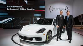 high oliver blume chairman of the executive board of porsche ag detlev von platen member of the executive board of porsche ag sales and marketing panamera 4 e hybrid executive press conference los angeles auto show 2016 porsche ag