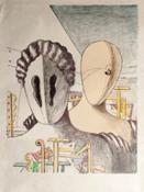 Giorgio de Chirico,   Le Maschere, 1970 - Litografia colorata a mano dall'autote