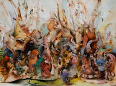 Ali Banisadr, In Medias Res, oil on canvas, 2015 (est. $200,000-300,000)