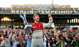 Daniel Abt cheering and celebrating in front of his home fans in Berlin at the historic Tempelhof Airport