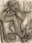 Henri Matisse, Portrait of Mrs Hutchinson, charcoal and estompe on paper...