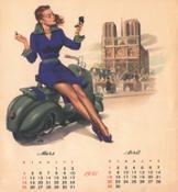 1951 calendario francese marzo-aprile Franco Mosca