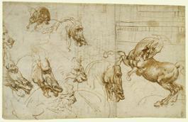 Leonardo da Vinci - Studio dell'espressione di cavalli, leone e uomo