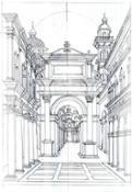 Scenografia Disegno a china del portale di Bramante Credits Mekane