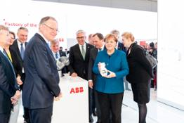 ABB CEO Ulrich Spiesshofer presented Swedish Prime Minister Stefan Lofven and German Chancellor Angela Merkel with ABBs visio