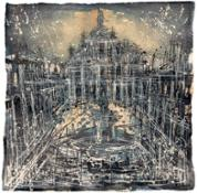 8 galleria Sifrein - Paris   FRB, Piazza del Duomo, 2018, tecnicamistasucarta, 70x70cm