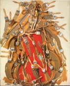 Arman-Sans-titre-1998-violoncello-sezionato-pennelli-e-acrilico-su-tela-su-tavola-cm-122x102x15.
