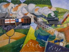 Severini Red Cross Train Passing a Village