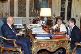 Palazzo del Quirinale  16 07 2010  Il Presidente Giorgio Napolitano con Lucia Valenzi, Presidente della Fondazione Valenzi e