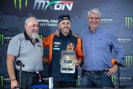 Tony Cairoli KTM 222 number retirement with Infront's Giuseppe Luongo & FIM's Jorge Viegas