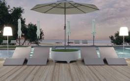 aqua sunbed & Oasis seat & Odette floor lamp