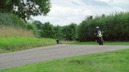 v-strom action - panning on road