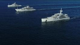 Benetti 3 Megayachts cruising tigether TV edit